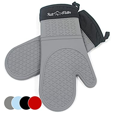 Grey Silicone Oven Hot Mitts - 1 Pair of Extra Long Professional Heat Resistant Pot Holder & Baking Gloves - Food Safe, BPA Free FDA Approved With Soft Inner Lining