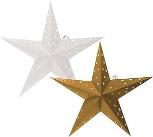 Brubaker–Estrellas de Navidad LED, foto cartón con estrella recortados, 60cm de diámetro, color blanco y oro, doble Pack