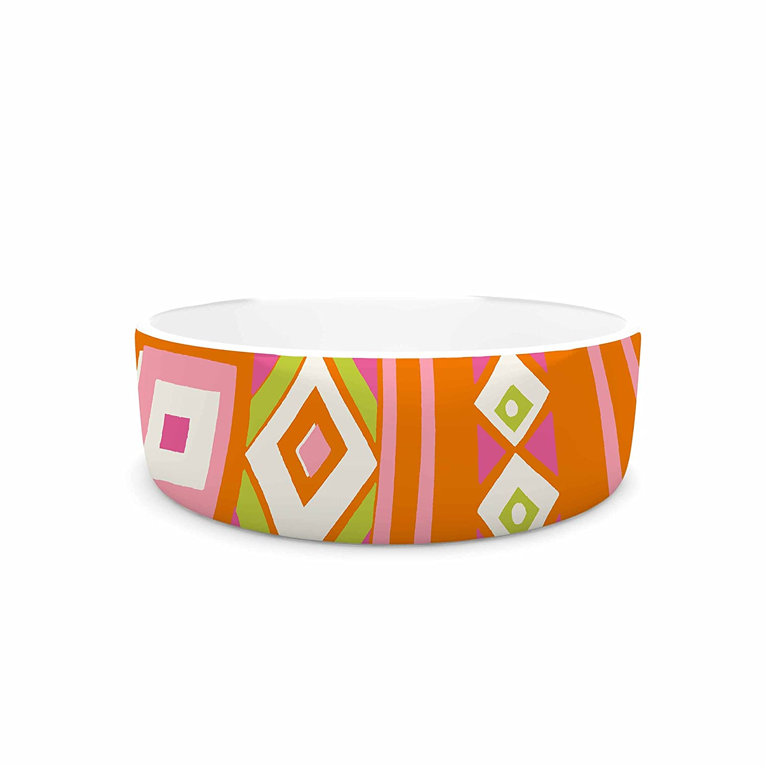 KESS InHouse Jacqueline Milton Heatwave-Hot orange Pink Illustration Pet Bowl, 4.75  Diameter