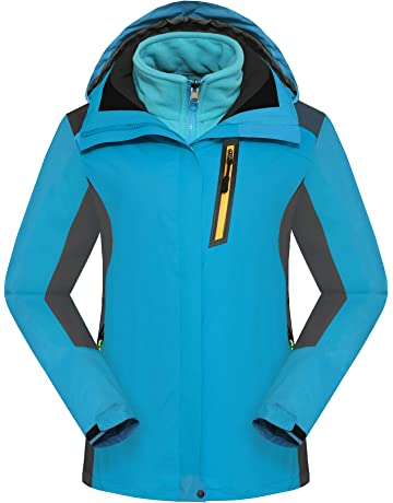 457eec43cf Walkvel Womens Waterproof Jacket Winter Warm Fleece with Hood Windproof Outdoor  Coat Blue