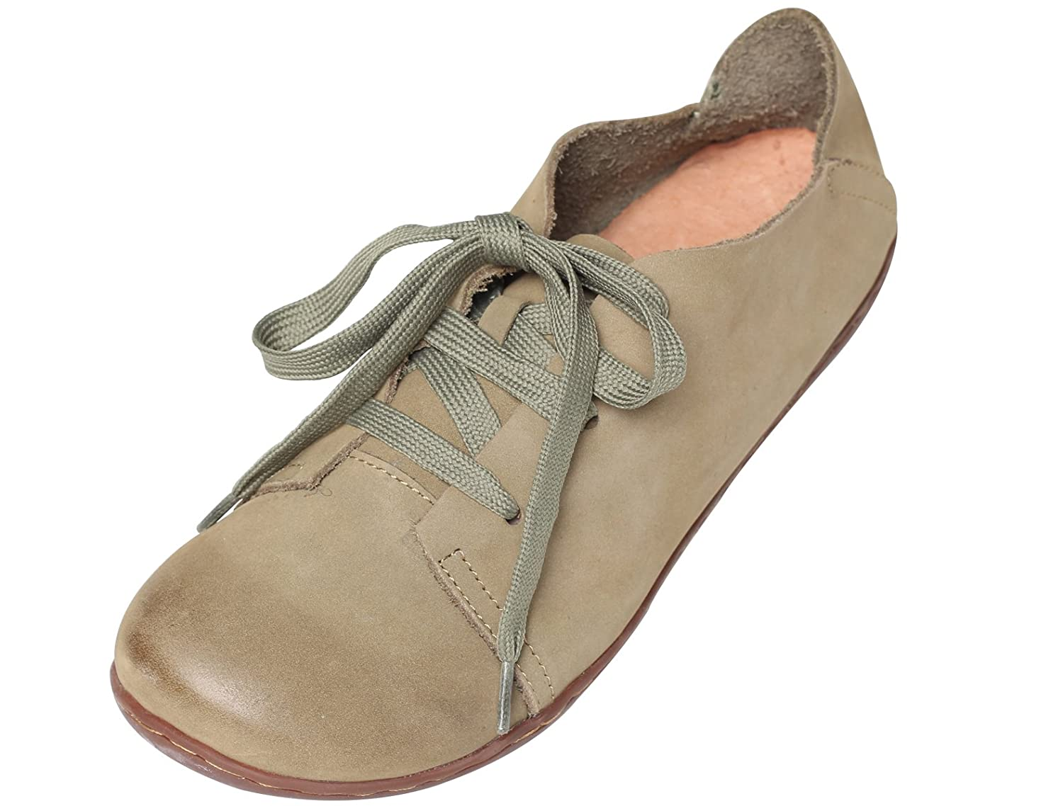 Mordenmiss Women's New Leather Lace Up Flat Shoes B06XKJKL2L US 10//CH 42|Olive