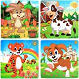 Wooden Jigsaw Puzzles Set for Kids Age 3-5 Year Old 20 Piece Animals Colorful Wooden Puzzles for Toddler Children Learning Ed