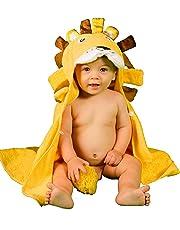Asciugamano Accappatoio Leoncino Per Bambini da Bagno 100% in Cotone Naturale AMPIE DIMENSIONI Extra Soffice - Perfetto per la Doccia E Bagnetto dei Bimbi Piccoli e Neonati Da 3 Mesi - 2 Anni