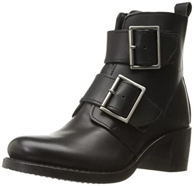 Frye Women's Sabrina Double Buckle Leather Boot Black 5.5 M