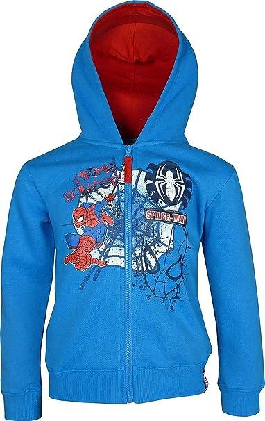Spiderman Niños Marvel Cremallera Entera Sudadera con Capucha Azul: Amazon.es: Ropa y accesorios
