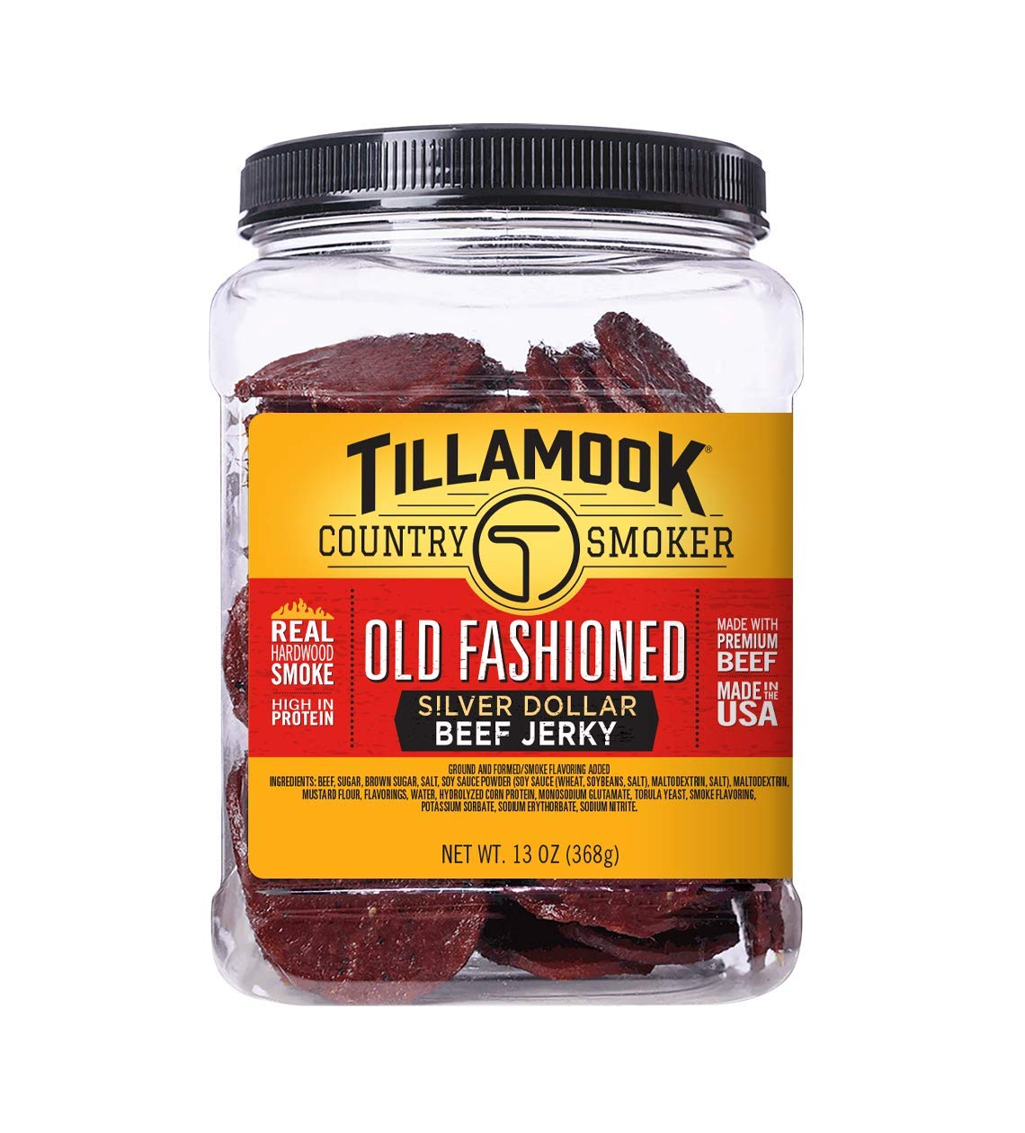 Tillamook Country Smoker Real Hardwood Smoked Silver Dollar Beef Jerky, Old Fashioned, 13 Ounce