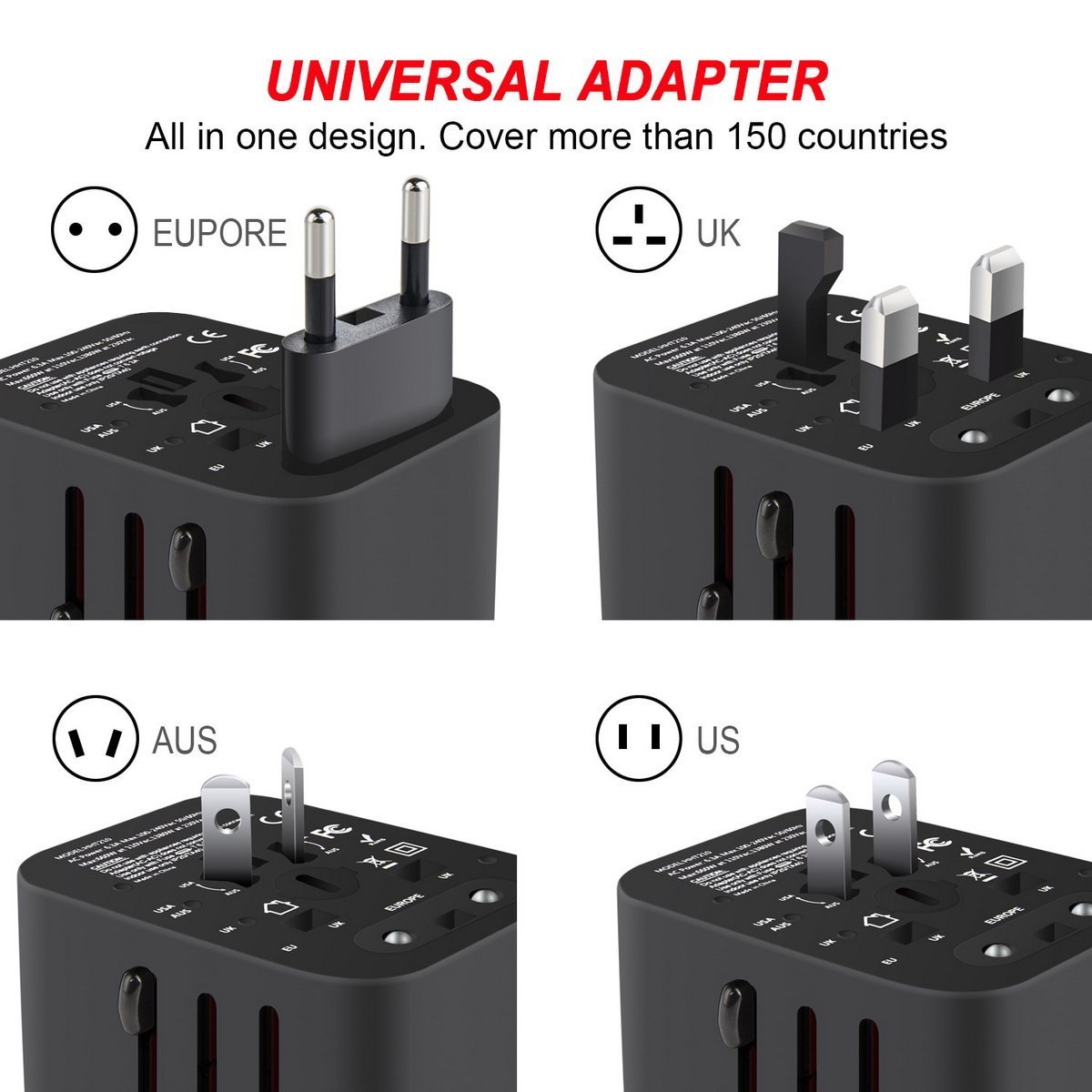 International Travel Adapter, Worldwide Travel Charger with 4 USB Ports Power Converters for EU, UK, US, USA, AU, Europe & Asia, All-in-one Universal Wall Plug Multi-Outlets Electrical Adaptor - Black by YIVIEW (Image #2)