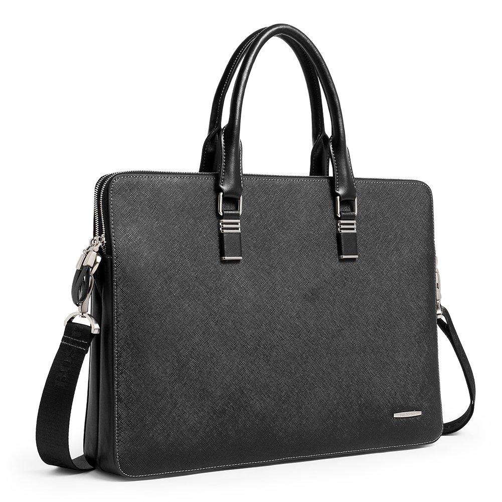 BOSTANTEN Shoulder Leather Briefcase Shoulder Cross-body Laptop Business Bag for Men