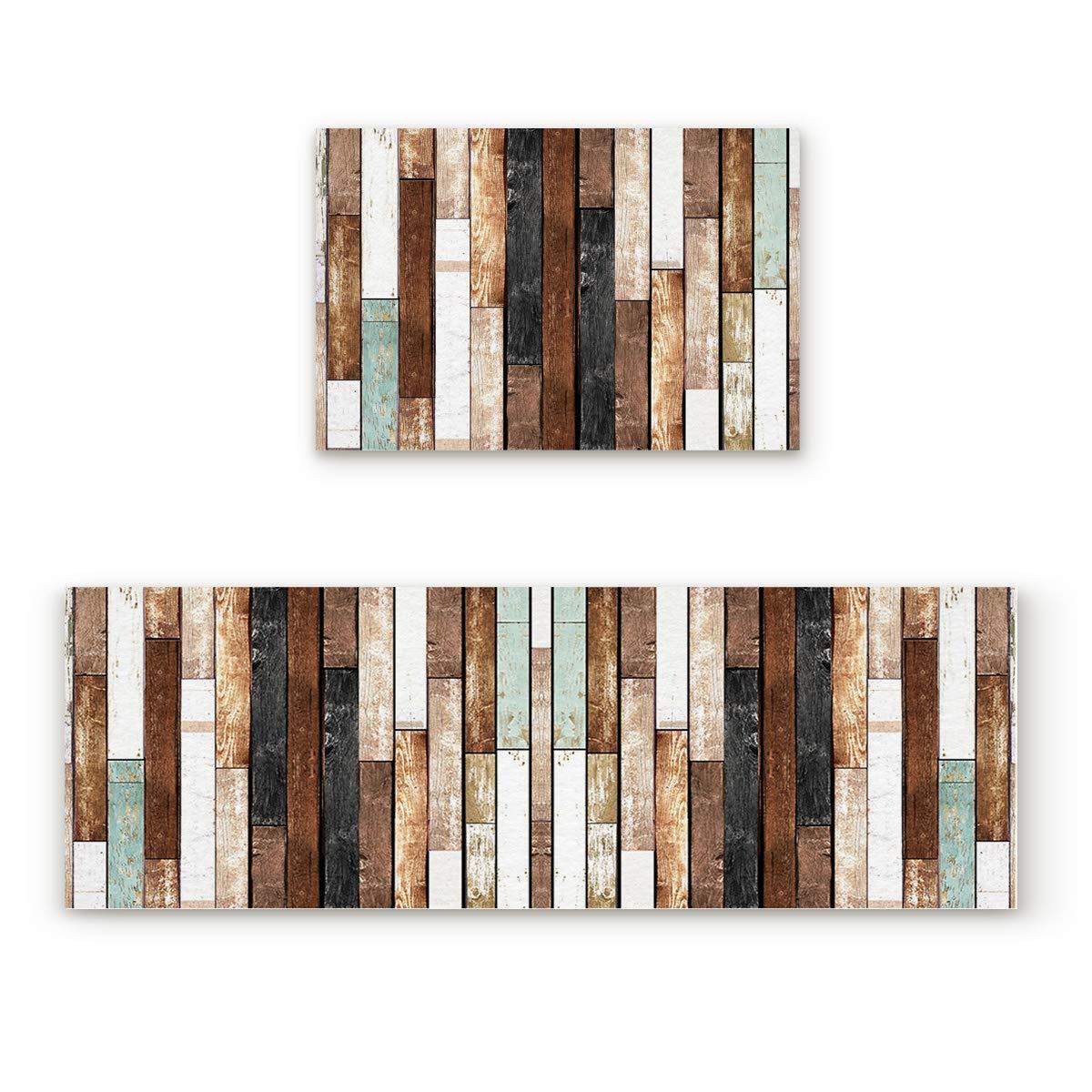 Wood Grain16fiy6254 23.6x35.4In+23.6x70.9In Findamy Non-Slip Indoor Door Mat Entrance Rug Rectangle Absorbent Moisture Floor Carpet for Retro Board Pattern Doormat 23.6x35.4In+23.6x70.9In