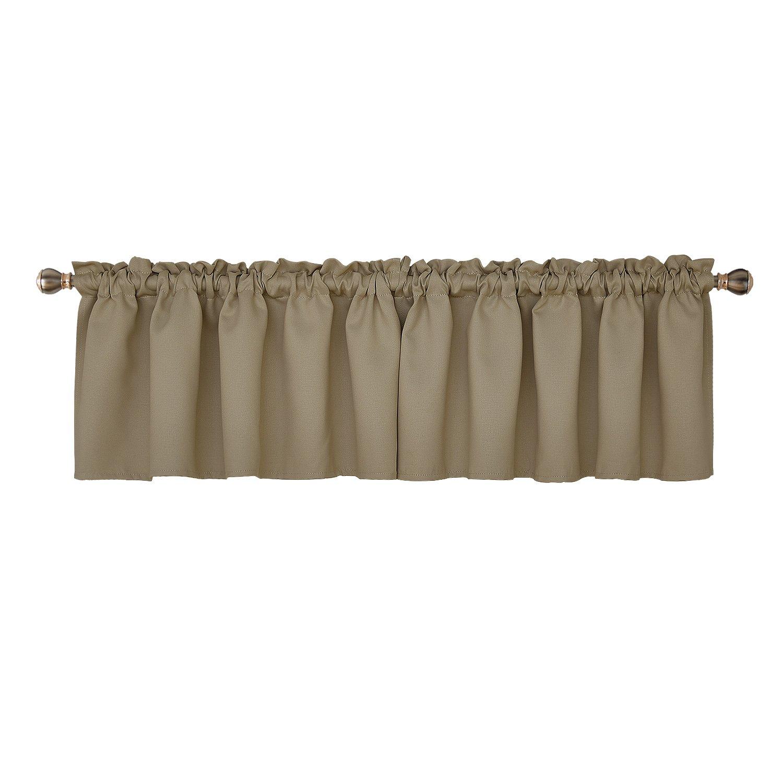 Deconovo Rod Pocket Blackout Curtain Textured Embossed Valance for Bedroom Window 52x18 Inch Khaki 2 PCS