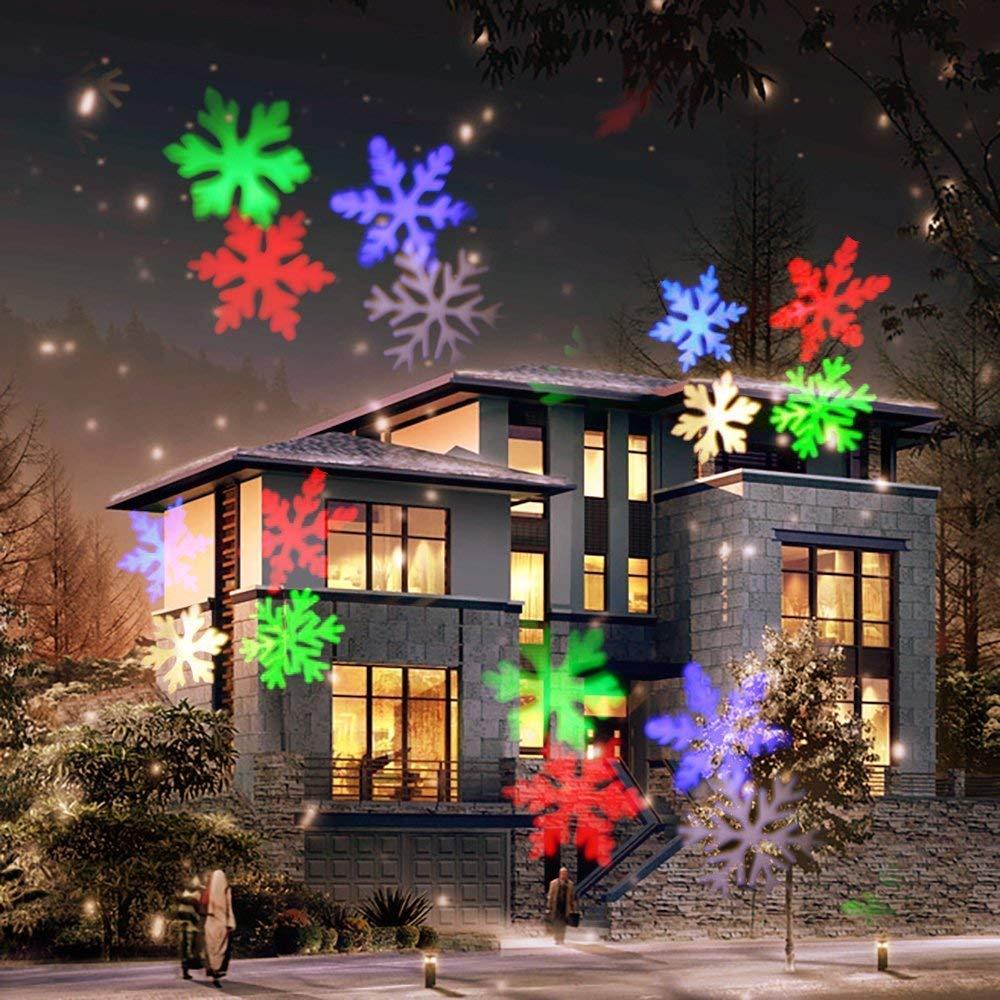 LED Projektor COOSA Weihnachten Projektor Lampe Garten Beleuchtung Wasserdicht mit 12 Motiven Indoor und Outdoor Dekoration fü r Weihnachten Tag Neues Jahr Geburtstag Party Feiertag EL0777_BKEU