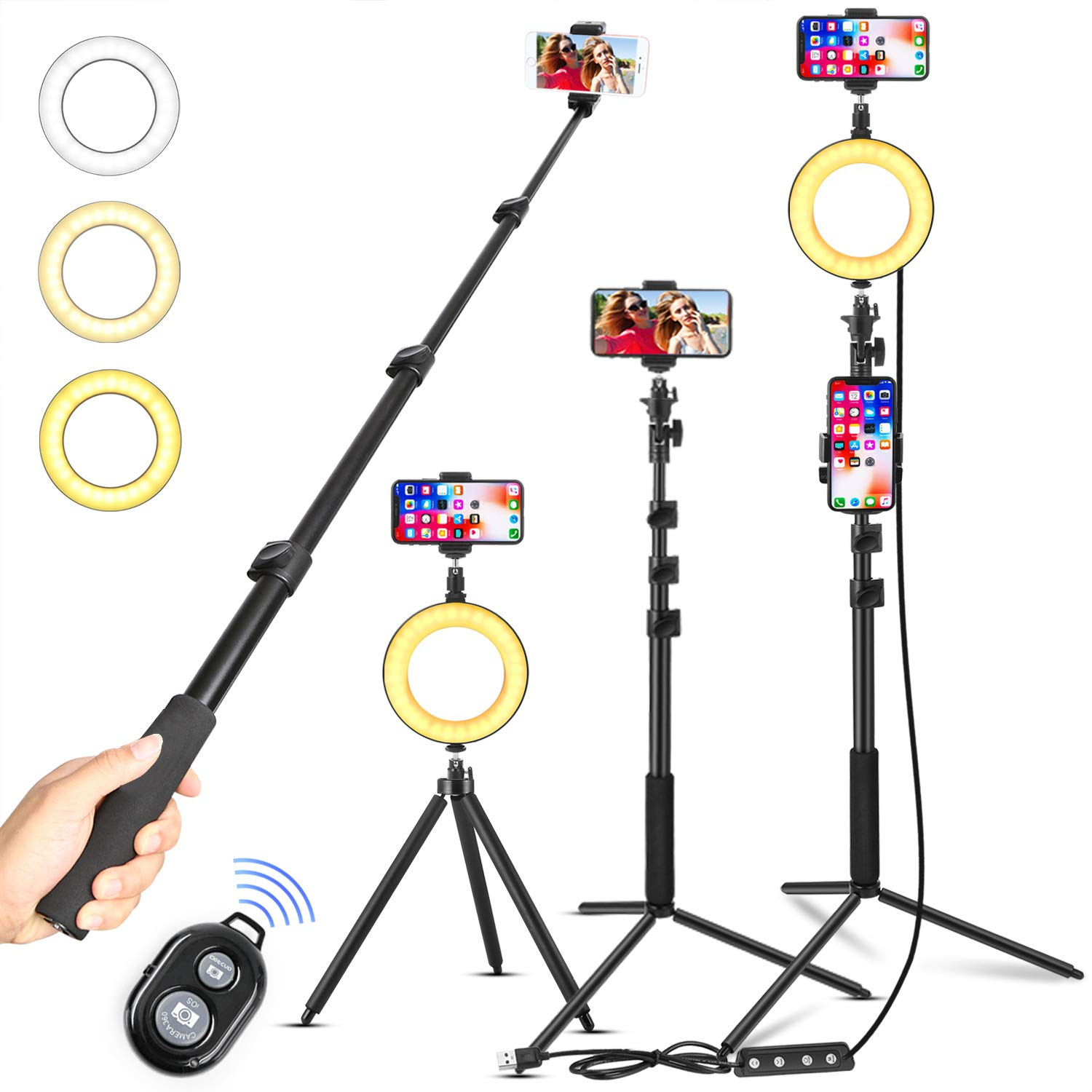 LED Dimmable Ring Light with Tripod Stand & Phone Holder for Live Stream/Makeup, 6″ Ringlight for YouTube Video, Portable Selfie Stick/Phone Tripod with Remote Control, Compatible with iPhone Android by LiZHi