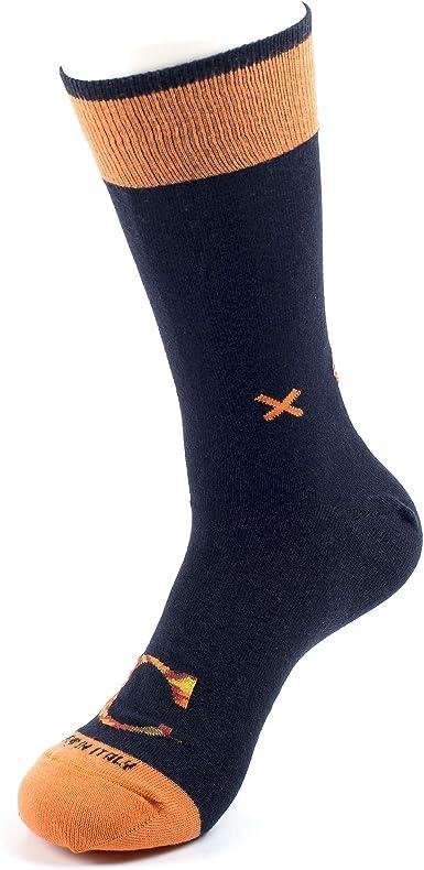 SOXPLAY CALCETINES PERSONALIZADOS Algodón peinado 100% HECHO EN ITALIA, calcetín individual para hombre en color azul con letra personalizada en constraste de camuflaje. L/XL (41-45): Amazon.es: Ropa y accesorios