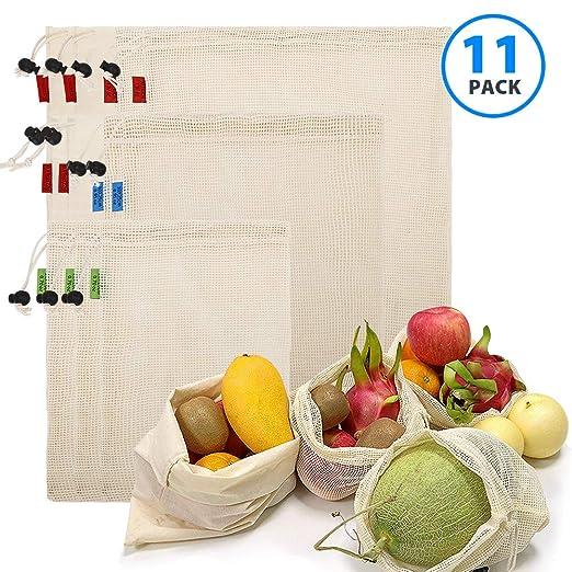 Elekin Bolsas de Frutas Reutilizables de 11 Piezas, Bolsas ...