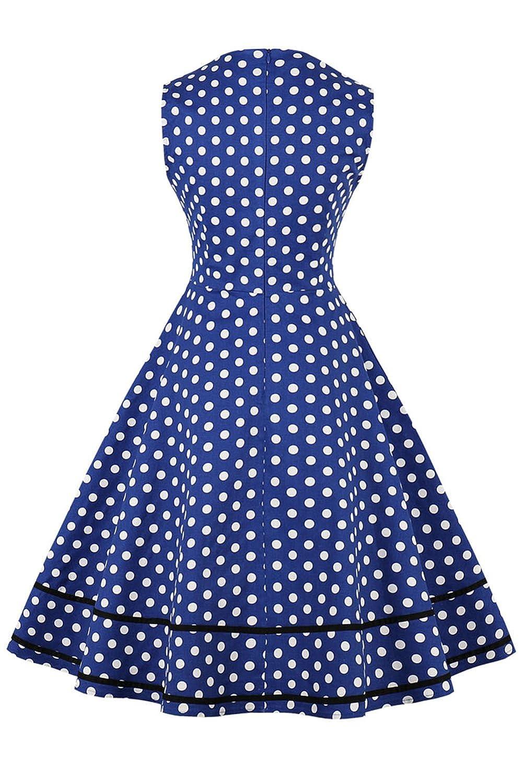 Axoe Robe Vintage Audrey Hepburn Femme de Soir/ée Ann/ées 50 Taille Empire Blanc /à Pois Noir A1601