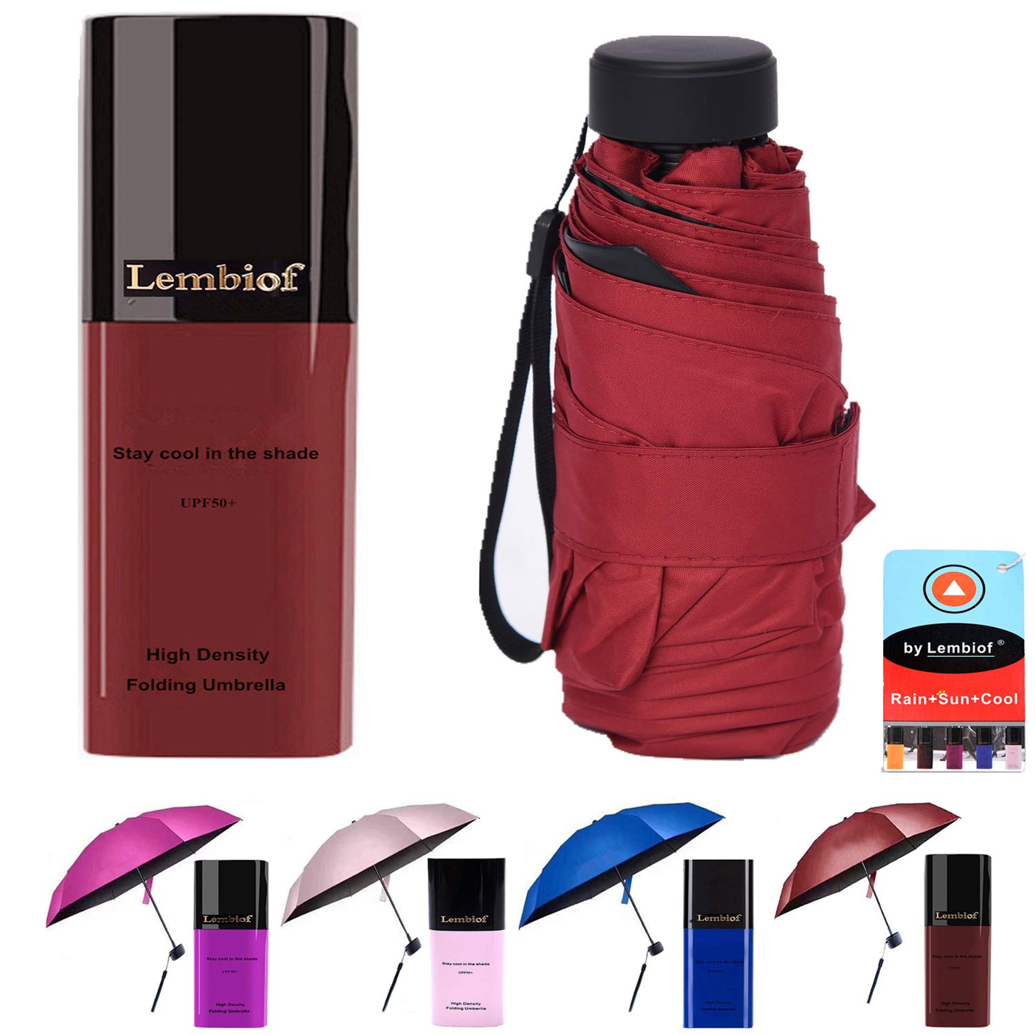 Compact Travel Umbrella with Waterproof Case, 6 Ultra Strong Ribs Finest 99% UV Protection Outdoor Umbrella for Women and Men (Wine Red)
