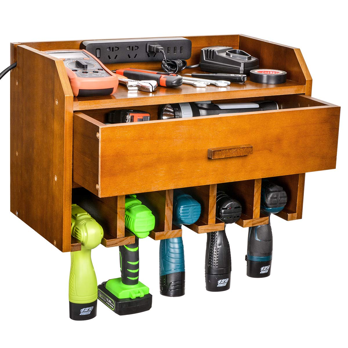 Power Tool Charging Station, Sunix Drill Wall Holder Power Tool Organizer with Drawer Wall Mount Tool Garage Storage(Power Strip is Not Included) by Sunix