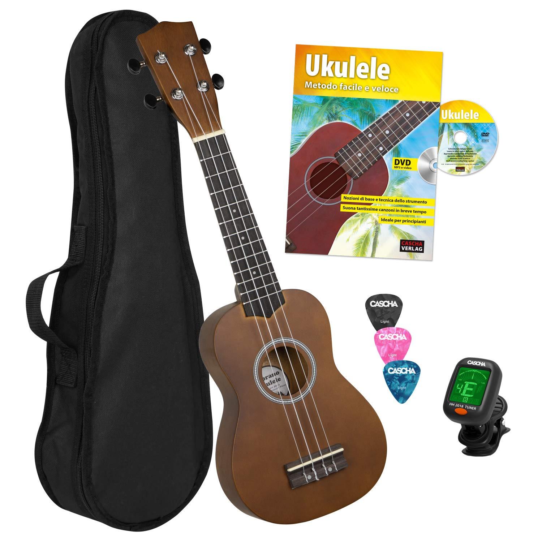 Afinador Bundle con Curso de Ukelele 3 P/úas y Cuerdas de Aquila Bolsa Acolchada CASCHA HH 3956 ES Ukelele
