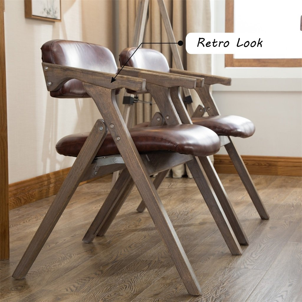 Amazon.com: LPZ-STOOL Retro Solid Wood Dining Chair Folding Chair with Backrest and Armrest Armchair as Desk Chair Padded Stool Lounge Seat Vintage Design ...