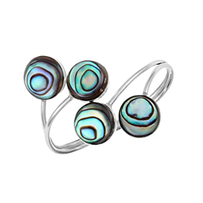 753db15af 81stgeneration Women's .925 Sterling Silver 1.6 mm Abalone Paua Shell Swirl  Wrap Around Ring