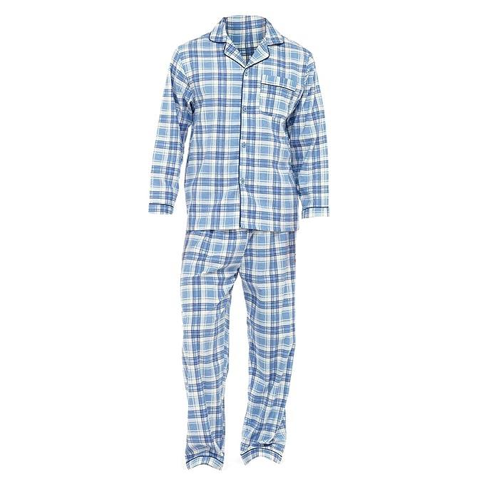 Conjunto pijama camisa de manga larga y pantalones de franela hombre caballero (XL - P