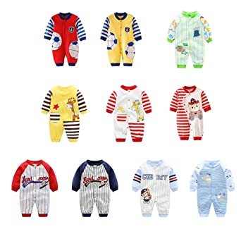 5e78e955b Amazon.com: AIKSSOO Infant Toddler Baby Outfit Stripe Jersey Style Onesies  Printed Romper: Clothing