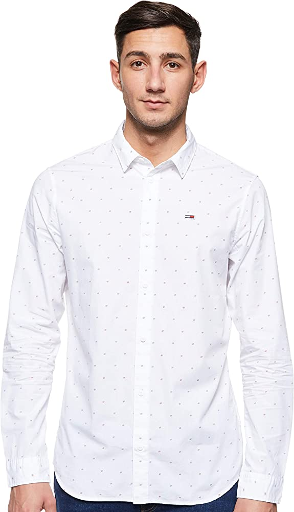 Tommy Hilfiger TJM Novelty Dobby Shirt Camisa, Blanco (Classic White 100), X-Small para Hombre: Amazon.es: Ropa y accesorios