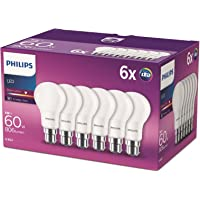 Philips LED B22 Frosted Light Bulbs, 8 W (60 W) - Warm White, Pack of 6