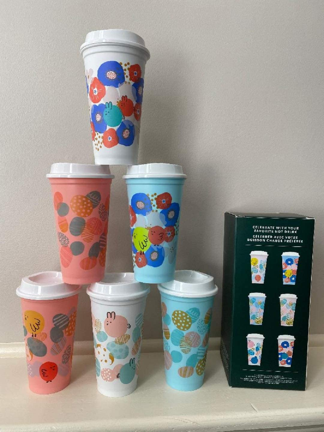 Starbucks 2020 Spring Limited Edition Set of 6 Reusable Hot Cups 16 Fl Oz each