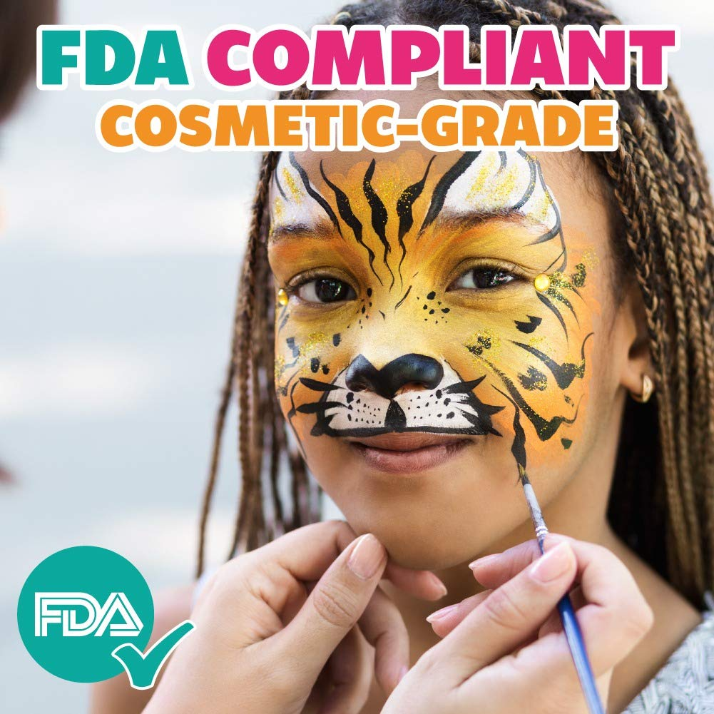 Hypoallergenic 25 gm Carnivals Ideal for Fairs Child Friendly Party /& Halloween Unicorn Shimmer Professional Face and Body Painting Kraze FX Domed 1-Stroke Split Cake Safe /& Non-Toxic