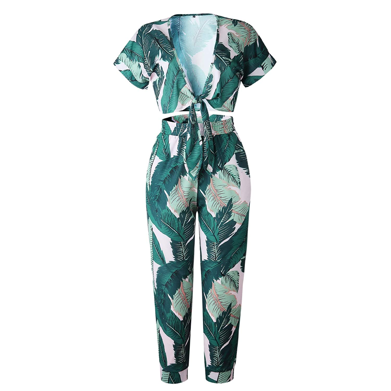 Longwu Womens Floral Print Short Sleeve Crop Top High Waist Wide Leg Pants 2Pieces Jumpsuit Party Beach