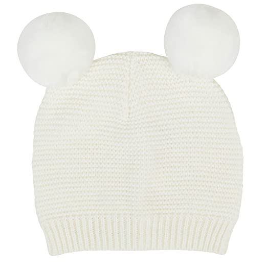 5b9fa2c0ffd02 Amazon.com  Waddle Baby Girls Pom Pom Beanie Knit Hat for Fashion or Winter  6-12 Months Ecru Off-White Knit  Baby