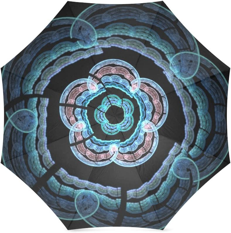 Beautytool Personalized Fractal Neon Flowers Foldable Custom Umbrella