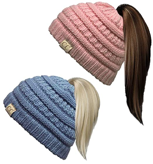 17093b1b3a2 Funky Junque BeanieTail Children s Ponytail Messy Bun Beanie Solid Ribbed  Hat