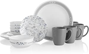 Corelle Prairie Garden Grey Chip & Break Resistant 16pc Dinner Set, Service for 4