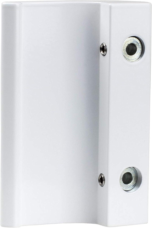 Tirador de puerta de balcón Gedotec Tirador exterior de aluminio blanco Gedotec - DE-LUXE | aluminio para puertas Longitud 82 mm | Puerta curvada | patio de diseño con tornillos -1 pieza: