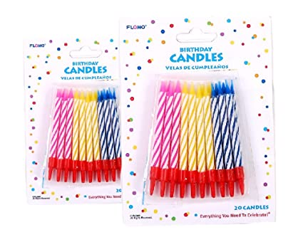FLOMO Striped Birthday Candles w/ Bases - 2-packs, 40 Candles