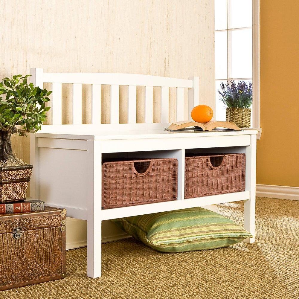 Amazon.com: Southern Enterprises Storage Entryway Bench With Rattan Baskets,  White Finish: Kitchen U0026 Dining