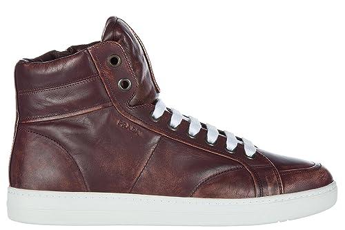 Prada Scarpe Sneakers Alte Uomo in Pelle Nuove Bordeaux  Amazon.it ... 323d6bf1c80