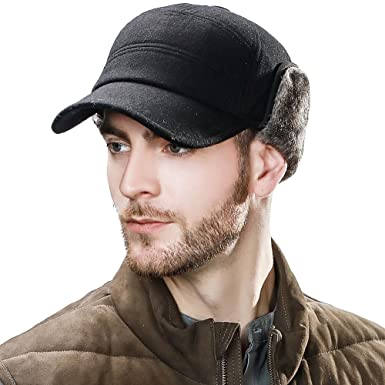 162a8cedb11 Mens Wool Winter Trapper Hats Flat Cap with Ear Flaps Baseball Cap with Faux  Fur Thick