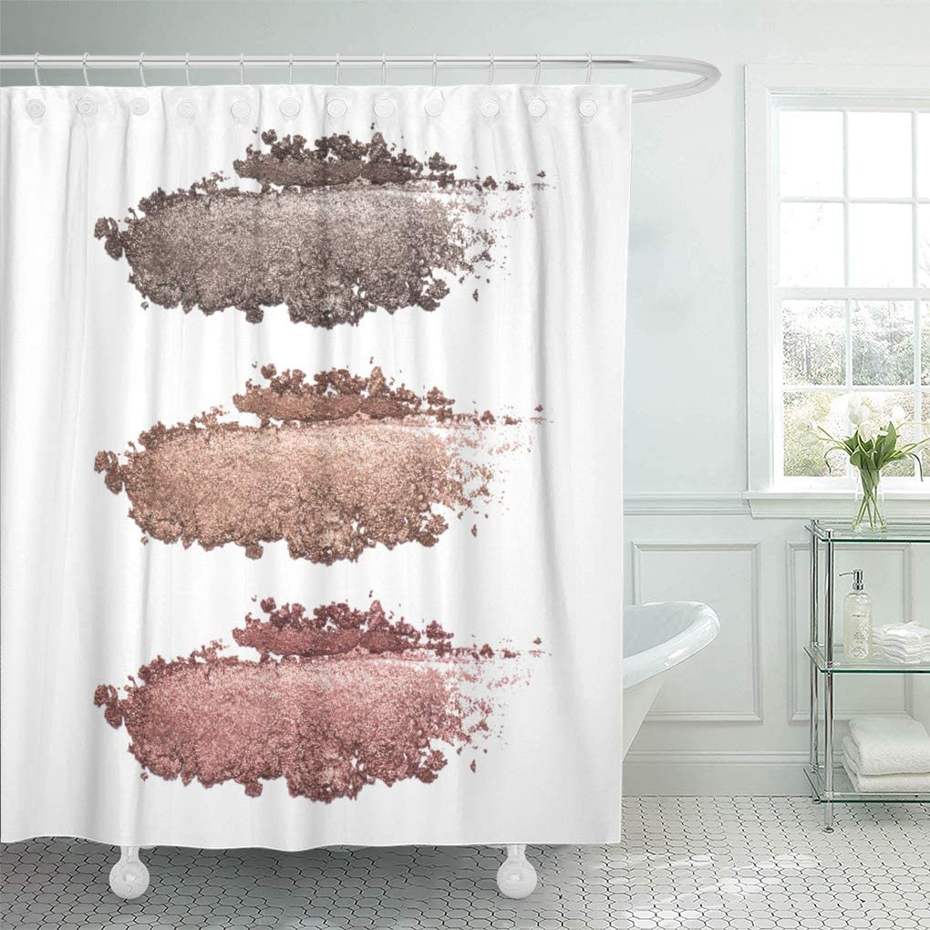Beige Crushed Ruffle Fabric Shower Curtain 72 in.W x 72 in. L