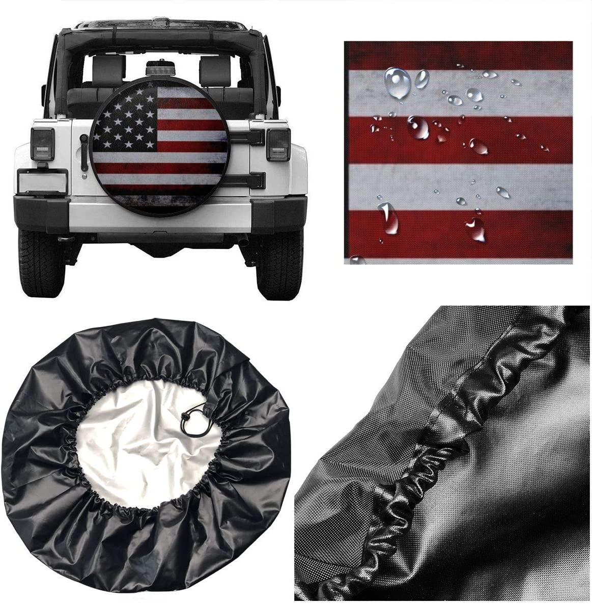 KING DARE American Flag Spare Tire Cover Polyester Dust-Proof Wheel Tire Cover Protectors for Jeeptrailer Rv SUV Truck Camper Travel Trailer Accessories 15 Inch