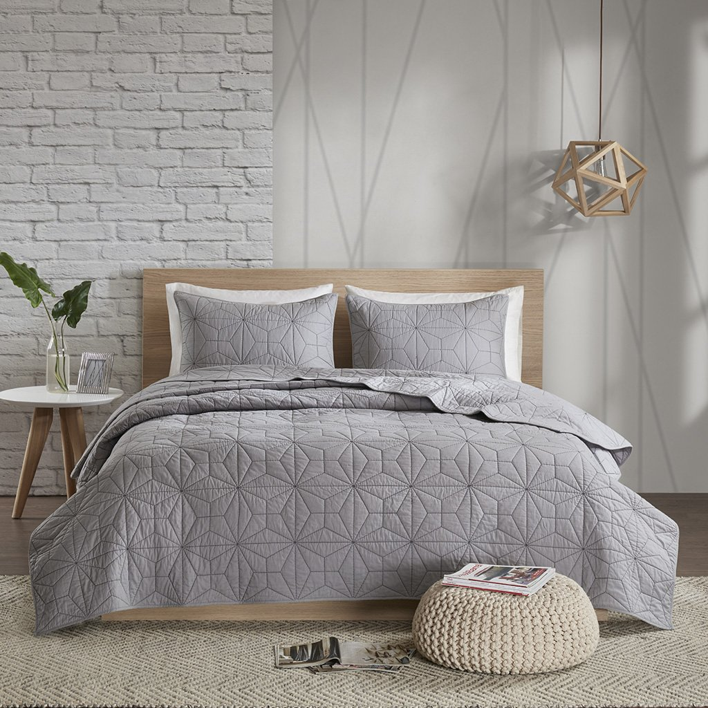 Urban Habitat Caden Full/Queen Quilt Bedding Set - Grey, Geometric – 3 Piece Teen Girl Boy Bedding Quilt Coverlets – 100% Cotton Bed Quilts Quilted Coverlet JLA Home Inc UH13-2098
