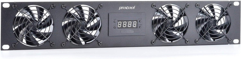 PROCOOL SP480XT-E / 2U Temperature Controlled Silent Rack Fan/Airflow= EXHAUST/Home Theater AV Cabinet Cooling Broadcast Server Recording Studio Rack Fan