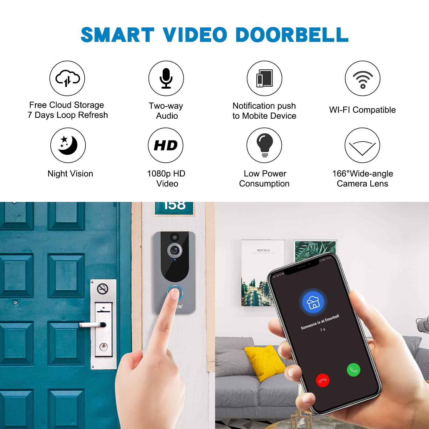 EKEN Smart Wireless WiFi Video Doorbell 1080p Cloud Storage Security Camera with PIR Motion Detection Night Vision Two-Way Talk and Real-time Video Silver
