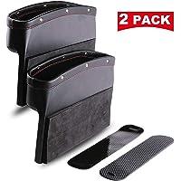 DEFENNA Car Gap Filler, 2 Pack Leather Seat Gap Pockets for Car Console Organizer Seat Side Storage Box Holding Phone Sunglasses Keys, Black (2 Pack) (2)
