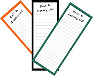 XYark Magnetic Notepads for Grocery List, Refrigerator, Shopping Notes, Reminders, Full Magnet Back Memo Pad, 50 Sheets Per Stick To Do List, 3.5x9 inch, 3 Pack