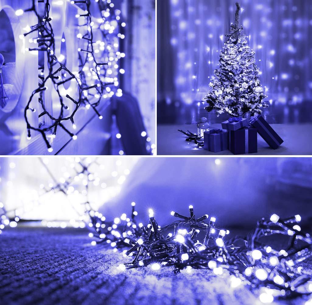 Luces de hadas de Navidad 100 LED Azul luces de árbol de interior y ...