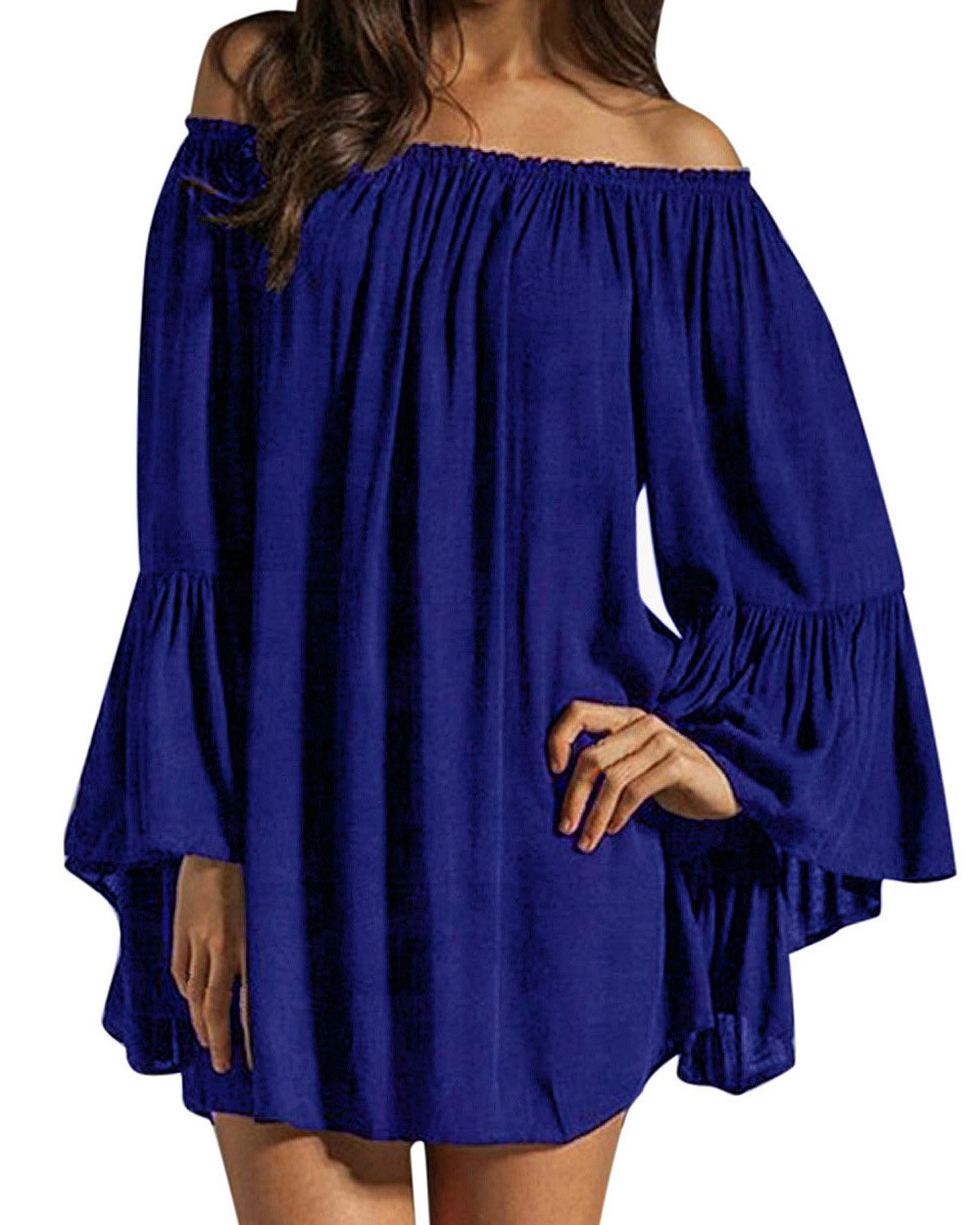 Sexy Ruffle Sleeve Off-Shoulder Chiffon Blue Chemise - DeluxeAdultCostumes.com