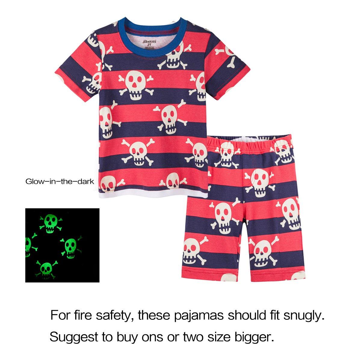 Little Boys Glow-in-The-Dark Pajamas Set Toddler Kids Sleepwear Pjs(6T,Red)